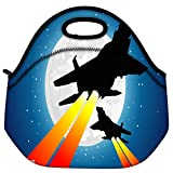 Snoogg Moon And Jet Fighters Travel Outdoor Carry Lunch Bag Picnic Tote Box Container Zip Out Removable Carry...
