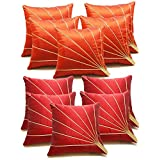 Bloom Rays Cushion Covers Combo Rust & Red 40 X 40 Cms(10 Pcs Set)
