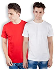 TOMO Men's Cotton Solid Color Round Neck T-shirt Combo Pack Of 2 - B00ZRLQM3G