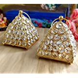 TiedRibbons Diwali Gifts Crystal T Light Holder Pack Of 2(4.8 Inch X 4.1 Inch,Golden,Brass) With T-lights