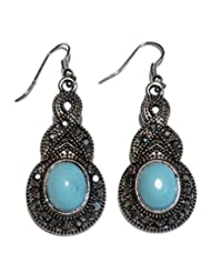 Boun Fashions Metal Based Antiquepolish Earings With Sky Blue Stone Engraved - B00OAZ8YD6