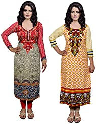 Indistar Combo Offer- Women Viscose Digital Printed And Cotton Printed Unstitched Kurti Fabric