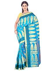 Ankisha Women's Bangalore Silk Saree (ALISHAANADA, Blue, Free Size)