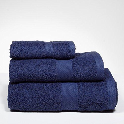 Sancarlos - Juegos de toallas lisos yanai azul - 5 piezas: 2 tocador, 2 lavabo, 1 sábana baño - 3 piezas: 1 tocador, 1 lavabo, 1 ducha - 100% algodón