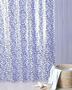 Gedy Extra Long Blue Mosaic Shower Curtain 180x200cm u0026 rings: Amazon.co.uk: Kitchen u0026 Home