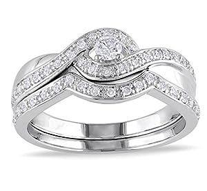 Glamorous Inexpensive Diamond Bridal Set Half Carat Round Cut Diamond on Gold