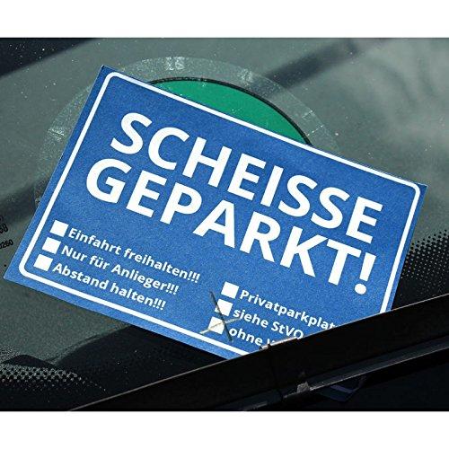 Scheisse Geparkt! Notizblock mit StVO für die Windschutzscheibe - Notizzettel Notizbuch 50 Blatt Schreibblock