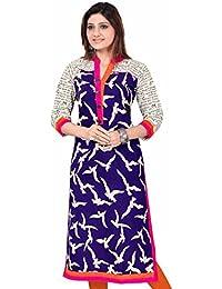 Ramdev Genesis Women's New Fashion Designer Kurti Low Price (kites_blue_Printed_Kurti) Cotton Kurti