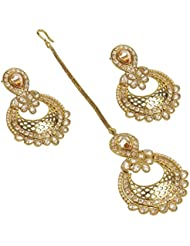 MUCH MORE Traditional Antique Golden Look Earrings With Maang Tikka For Women & Girls Partywear Jewellery
