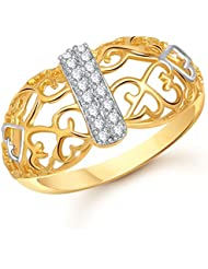 Meenaz Fancy Ring For Girls & Women Gold Plated In American Diamond Cz FR00491