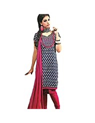 Ali Colours Cotton Embroidered Casual Wear Printed Suits For Women - B00WUN69XM