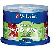 Verbatim CD-RW Discs 700MB 80min 4x Spindle Silver 50 Pack
