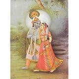 "Dolls Of India ""Radha Krishna - Divine Lovers"" Reprint On Paper - Unframed (40.64 X 29.84 Centimeters)"