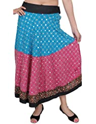 Exotic India Red-Violet And Horizon-Blue Long Skirt With Beadwork - Red