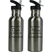 CustomGiftsNow Only The Best Dads/Moms Get Promoted To Grandparents Stainless Steel Water Bottle With Straw Flip...