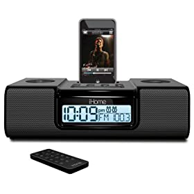 iHome iH9 Alarm Clock Speaker System with Dock for iPod (Black)