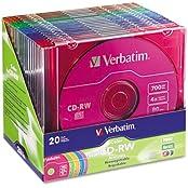 Verbatim - CD-RW Discs 700MB 80min 4X Slim Jewel Case Assorted Colors 20 Pack 94300 DMi PK