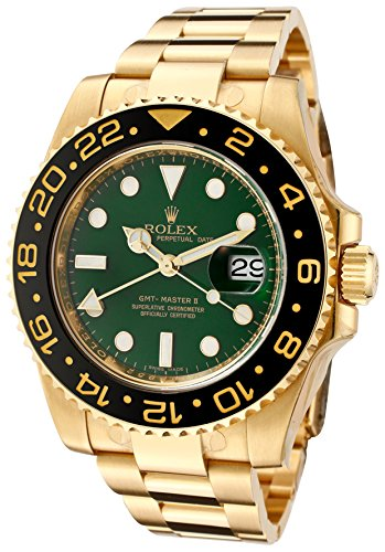 Rolex Men's Master II Automatic GMT Green Dial Oyster 18k Solid Gold