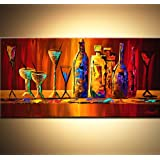 Colorful Wine Bottles And Glasses. - 48w X 24h Inch