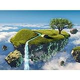 ArtzFolio Small Island Floating In The Sky - Medium Size 21.3 Inch X 16.0 Inch - FRAMED PREMIUM CANVAS Wall Artwork...