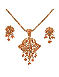 Divaz Bridal Gold Color Necklace Set With Earring For Women