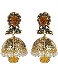 Traditional Weddingwear Collection Stunning Gold Tone Jhumki Polki Earrings Women's Jewelry