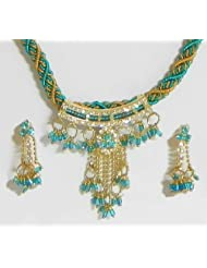 Cyan And Yellow Twisted Cord Necklace With Stone Studded Pendant - Stone, Bead And Metal