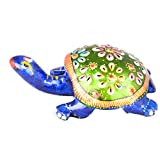 Rajgharana Handicrafts Multi Color Metal Meenakari Metal Tortoise - (8 Cm X 4 Cm)
