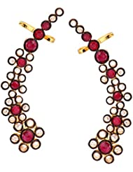 The Jewelbox Floral Delight 18K Gold Plated Ruby Red Polki Ear Cuff Pair For Women