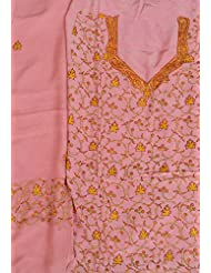 Exotic India Powder-Pink Salwar Kameez Fabric From Kashmir With Sozni Han - Pink