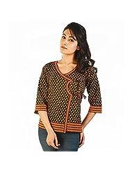 Jaipur RagaDesigner Hand Block Print Black Cotton Top Black Girls Kurti