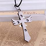Death Note Letter L the Cross Angel Wings Pendant Necklace