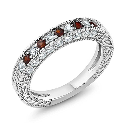 1.00 Ct Garnet and White Created Sapphire 925 Sterling Silver Wedding Band Ring
