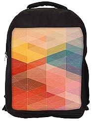 Snoogg Design Circular Mix Backpack Rucksack School Travel Unisex Casual Canvas Bag Bookbag Satchel - B0146G35YQ