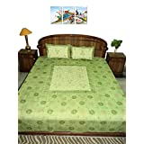 Amita's Home Furnishing Green Color Hand Embroided BedSheet With 2 Pillow Cover