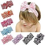 FEITONG(TM) 2015 New Lovely Baby Girl Big Striped Bow Elastic Headband Hairband