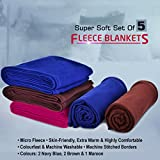 MSE Multicolor Set Of 5 Double Bed Size 230cm X 225cm Super Lite Super Soft Blanket - B073PWLN6W