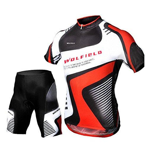 Lixada Jersey + Pantalones cortos Mangas cortas de Ciclismo Ropa de Equitación Montar Respirable transpirable para Deportes al aire libre...