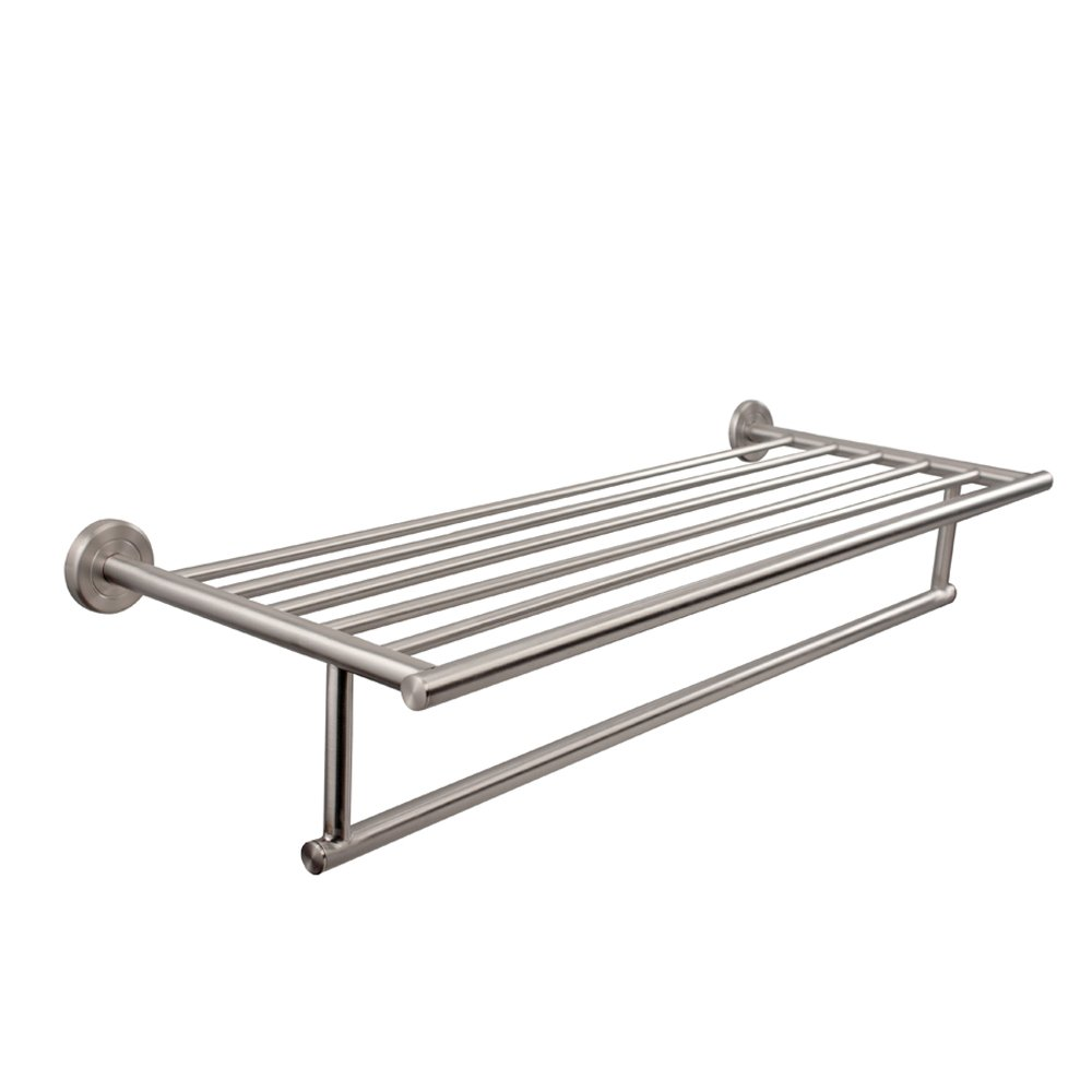 Satin Nickel Towel Rack Shelf Cosmecol