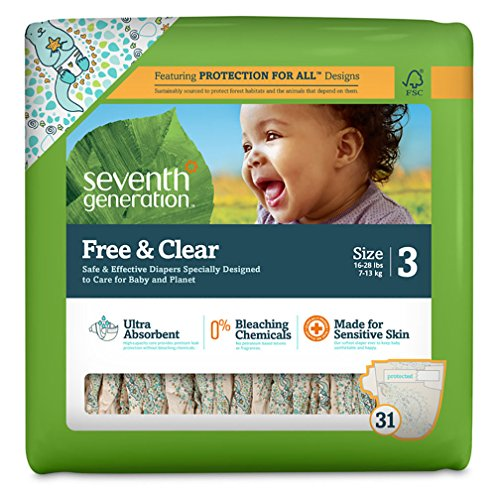 Seventh Generation Free And Clear Sensitive Skin Baby Diapers With Animal Prints, Size 3, 31 Count (Pack Of 4)