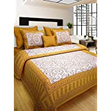 RHF 100% Cotton Traditional Warli Art Designs Double Bed Sheet / Bed Cover For Royal Home Yellow Multi (1 Double Bed Sheets With 2 Pillow Cover)