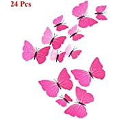 ADMI Removable 24 Pcs 3D Butterfly Wall Sticker Magnet Art Design Decorative Butterfly Sticker Decal For Home...