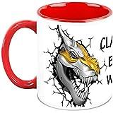 HomeSoGood Steel Plated Dinosaur Skull White Ceramic Coffee Mug - 325 Ml