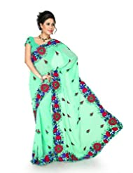 Designersareez Women Chiffon Embroidered Light Green Saree With Unstitched Blouse(1294)
