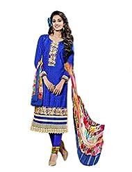Surat Tex Blue Color Embroidered Cotton Jacquard Semi-Stitched Salwar Suit-E279Dl9091Sa