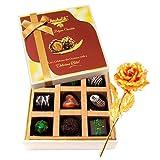 Valentine Chocholik Premium Gifts - Titillating Choco Treat With 24k Gold Plated Rose
