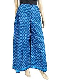 GiftPiper Cotton Hand Block Print Pakistani Palazzo Pants- Electric Blue
