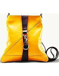 Twach Social Cross Body Leather Bag (Yellow)