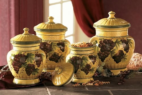 tuscan style kitchen canister sets tuscan canister sets tuscany grapes 4pc canisters kitchen decor set by marcel imp 7721