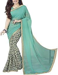 Nirjas Women's Chiffon Saree With Blouse Piece (Aishafirozi_A_Turquoise)
